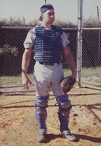 Joe Janish in 1992 as catcher for the Saint Peter's College Peacocks