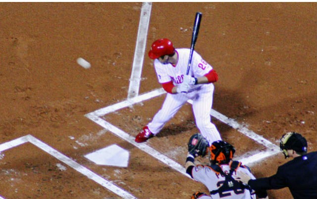Chase Utley waits on a pitch