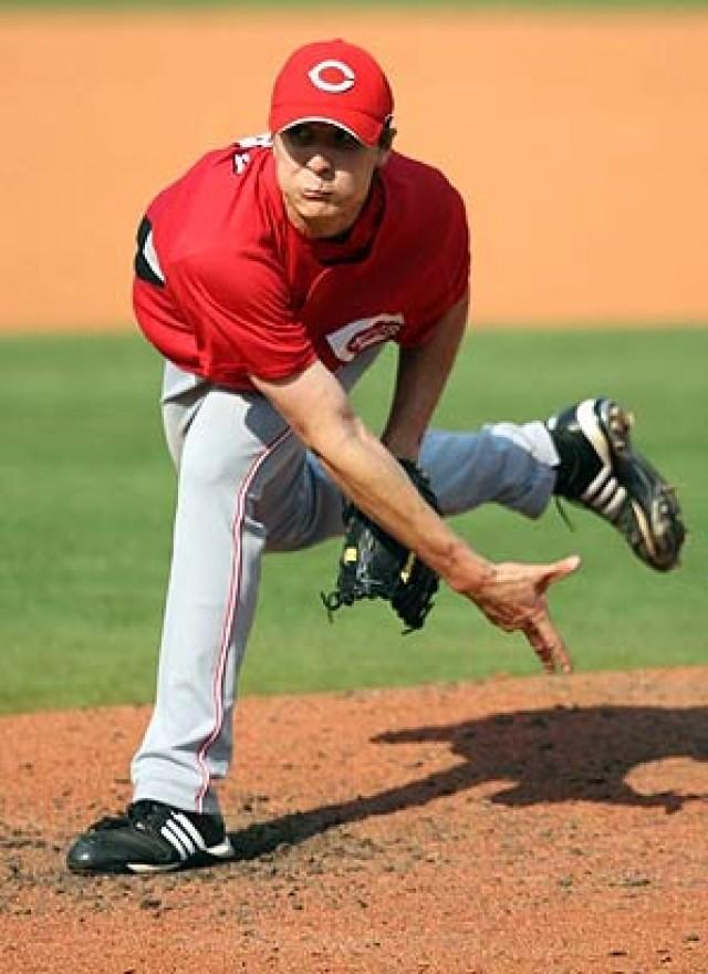 cincinnati reds pitcher homer bailey follow through